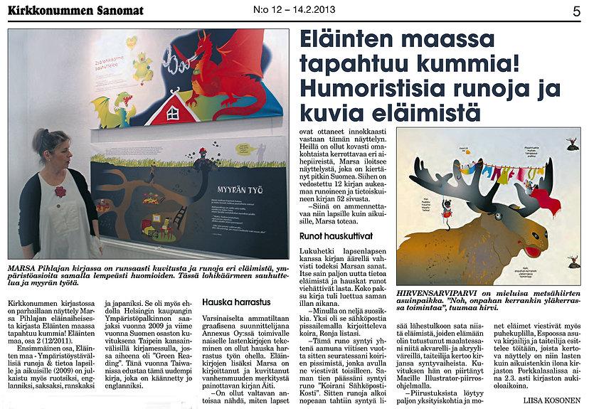 Kirkkonummen Sanomat, Eläinten maassa tapahtuu kummia -näyttely, Marsa Pihlaja