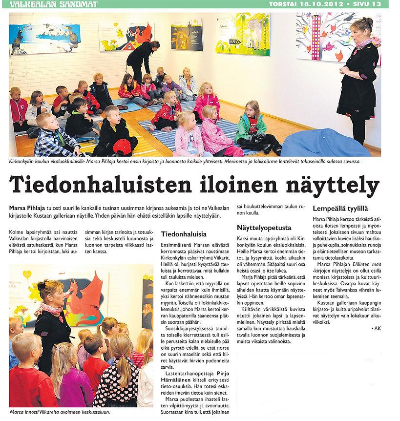 Valkealan Sanomat -artikkeli, Eläinten maassa tapahtuu kummia! -näyttely,Marsa Pihlaja
