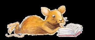 Marsa Pihlajan Äiti-kirja; lukeva hiiri. Piirros Katri Kirkkopelto.