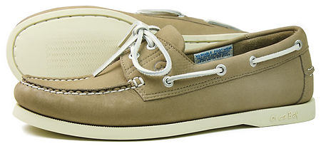 Orca Bay Mens White Soled Classic Deck Shoe in Washable Taupe Leather