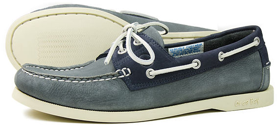 Orca Bay Mens White Soled Classic Deck Shoe in Washable Grey Leather