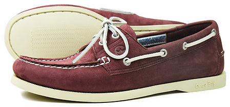 Orca Bay Mens White Soled Classic Deck Shoe in Washable Burgundy Leather