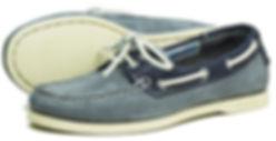 Orca Bay Womens Sandusky Washable Leather Deck Shoe in Grey Indigo