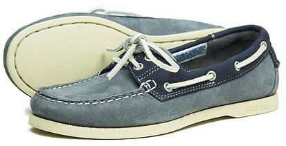 Orca Bay Womens Sandusky Washable Leather Deck Shoe in Grey Indigo