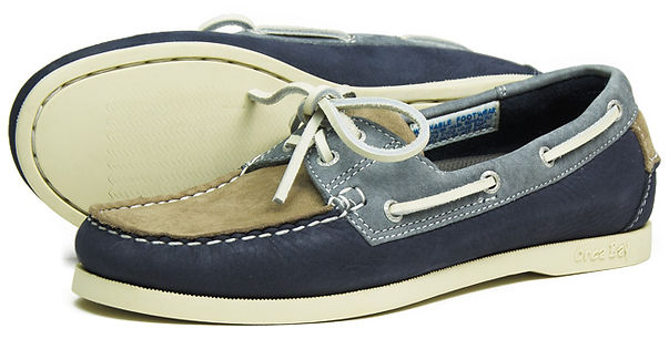 Orca Bay Womens Sandusky Washable Leather Deck Shoe in Taupe Indigo Grey