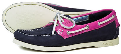 Orca Bay Womens Sandusky Washable Leather Deck Shoe in Indigo Magenta Pink