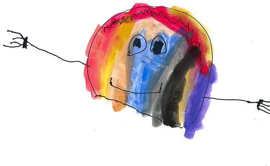 child's ranbow watercolor drawing