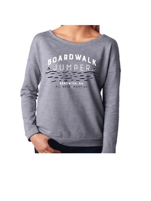 Boardwalk Jumper -Ladies French Terry Wide Neck Shirt