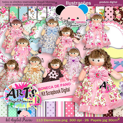 KIT DIGITAL BONECA DE PANO