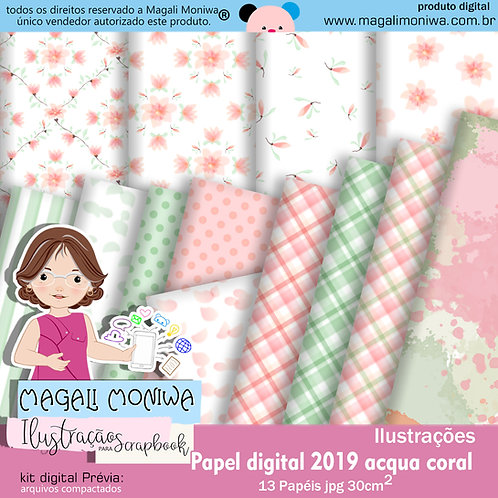 Papel Digital Acqua Coral
