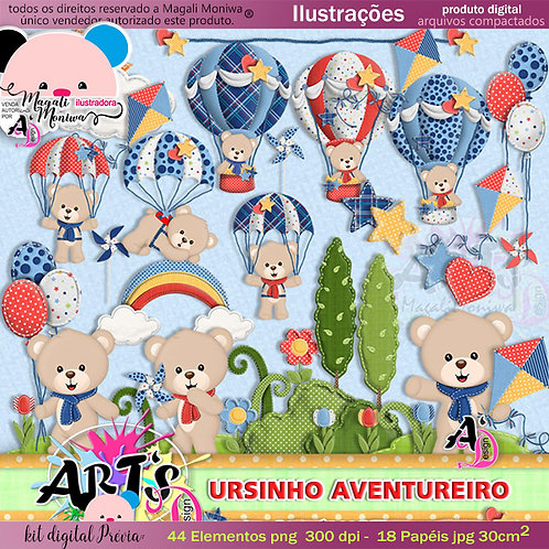 Ursinho Aventureiro kit digital