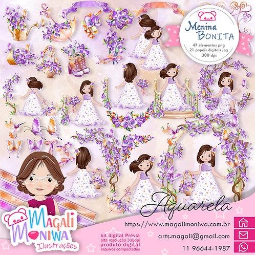 Menina Bonita Aquarela Kit Digital