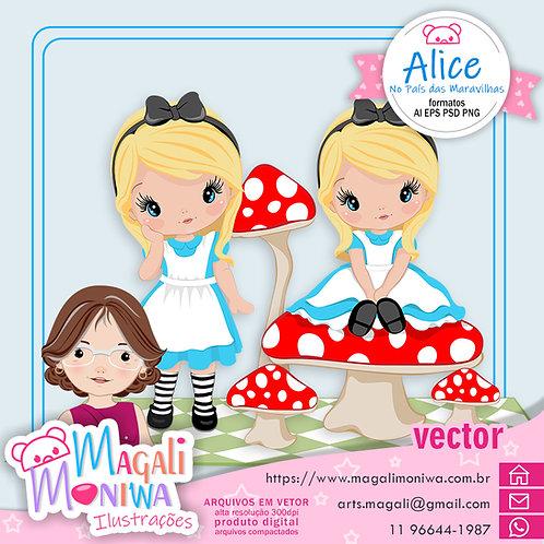 Alice no País das Maravilhas - Kit digital Vector