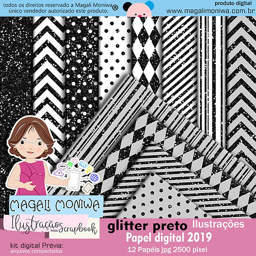 Papel Digital Glitter Preto