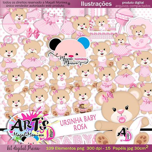 URSINHA BABY ROSA kit digital