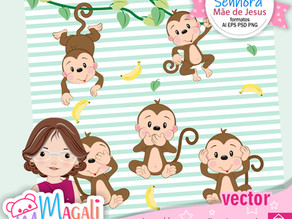 Macaquinhos - Kit digital Vector