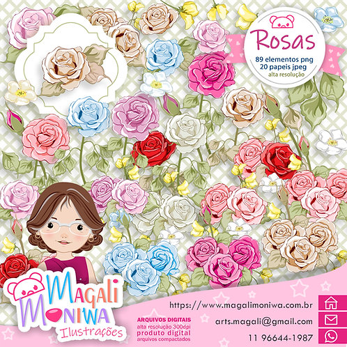 Rosas PNG Kit Digital