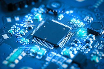 Close-up electronic circuit board. techn