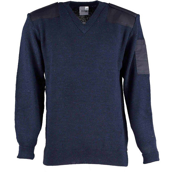 9842 Vee Neck Sweater with a pen pocket and shoulder and elbow patches