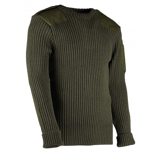 9048 - York Woolly Pully Crew Neck With Patches, Epaulettes & Pen Pocket