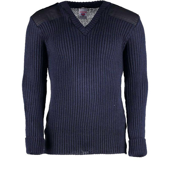 9044 - York Woolly Pully Vee Neck Sweater With Patches And Epaulettes