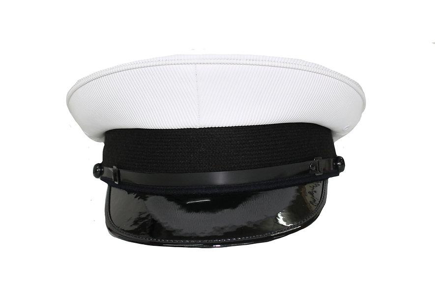 Officers White Plastic Top Cap Gloss Peak