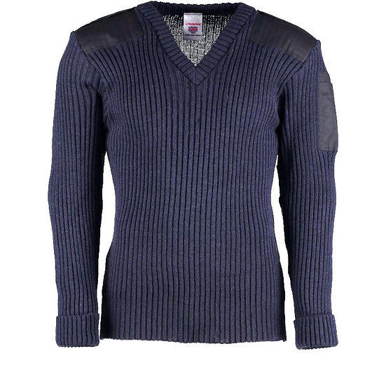 9047 - York Woolly Pully Vee Neck Sweater With Patches Epaulettes and Pen Pocket
