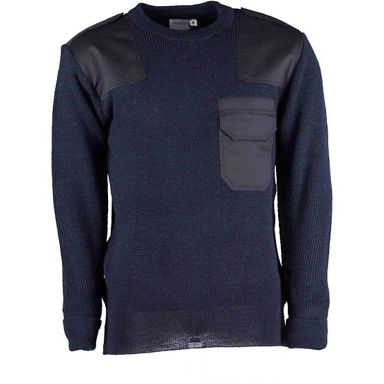 12355 Crew neck Jumper with pen pockets and shoulder and elbow epaulettes