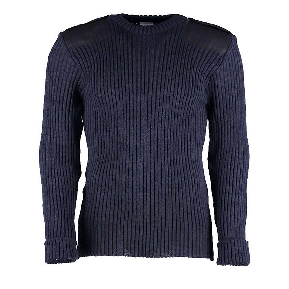 9025 - Woolly Pully Crew Neck With Patches and Epaulettes