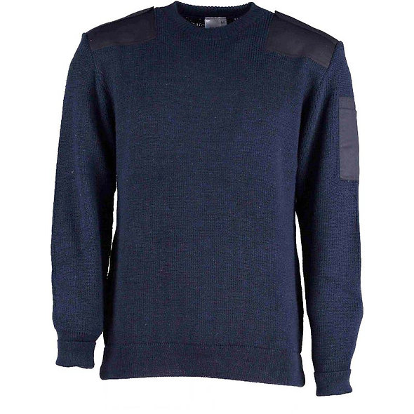 9841 Crew Neck Sweater with a pen pocket and shoulder and elbow patches