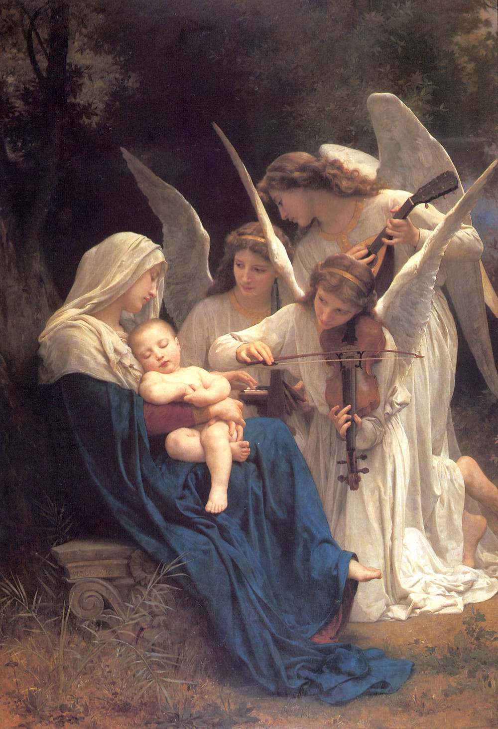 Songs of the angels oil on canvas painting with mary and jesus and 3 angels making music classic realism art by William Aldolphe-Bouguereau 1881 from Natural Pigments of California Silver Oak Art