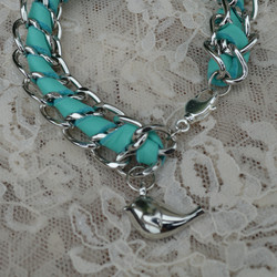 Turquoise Leather and Chain