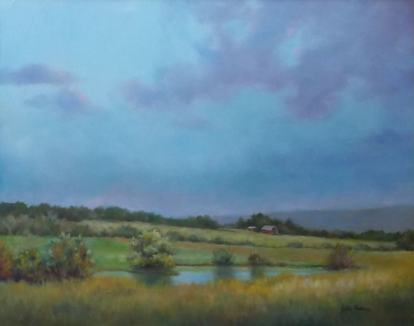 Texas pond and farm landscape (c) Patty Thomas, artist Ingram Texas
