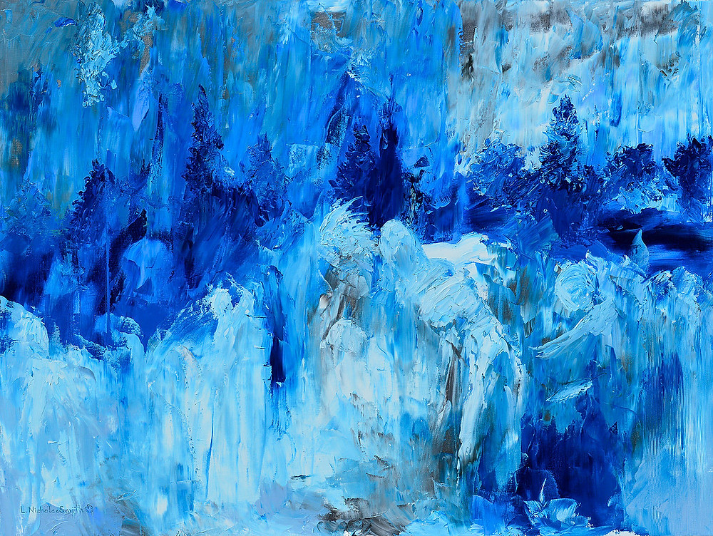 wabi sabi oil painting blue and white colors palette knife technique