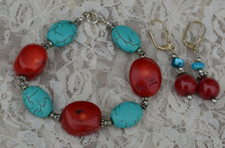 Red & Turquoise Howlite Set