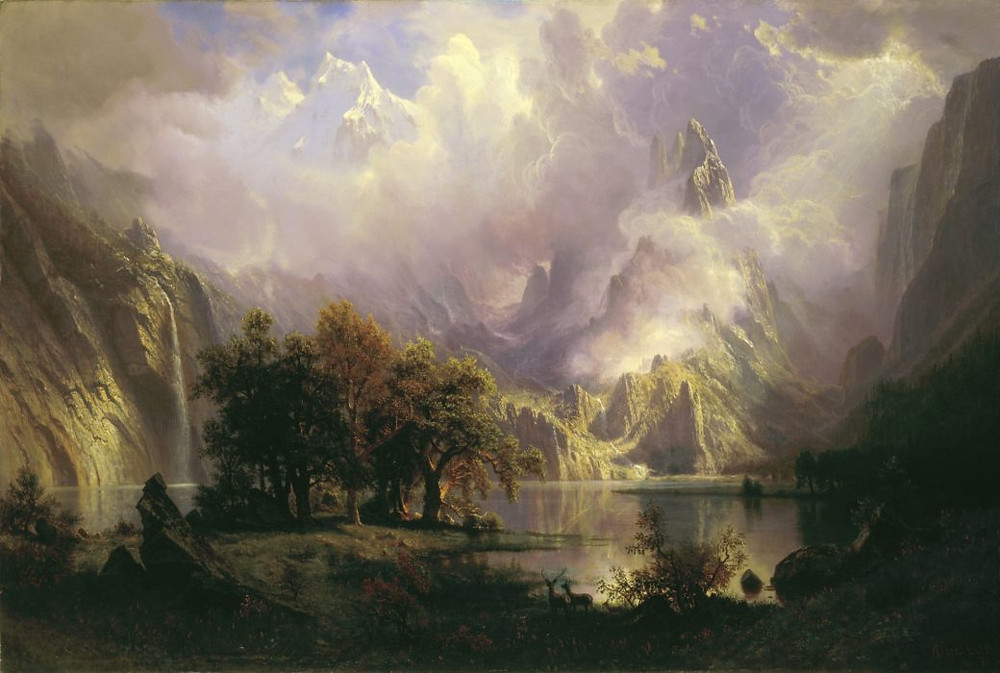 Albert Bierstadt realism oil painting titled  Rocky Mountain Landscape from the White House collection Silver Oak Art