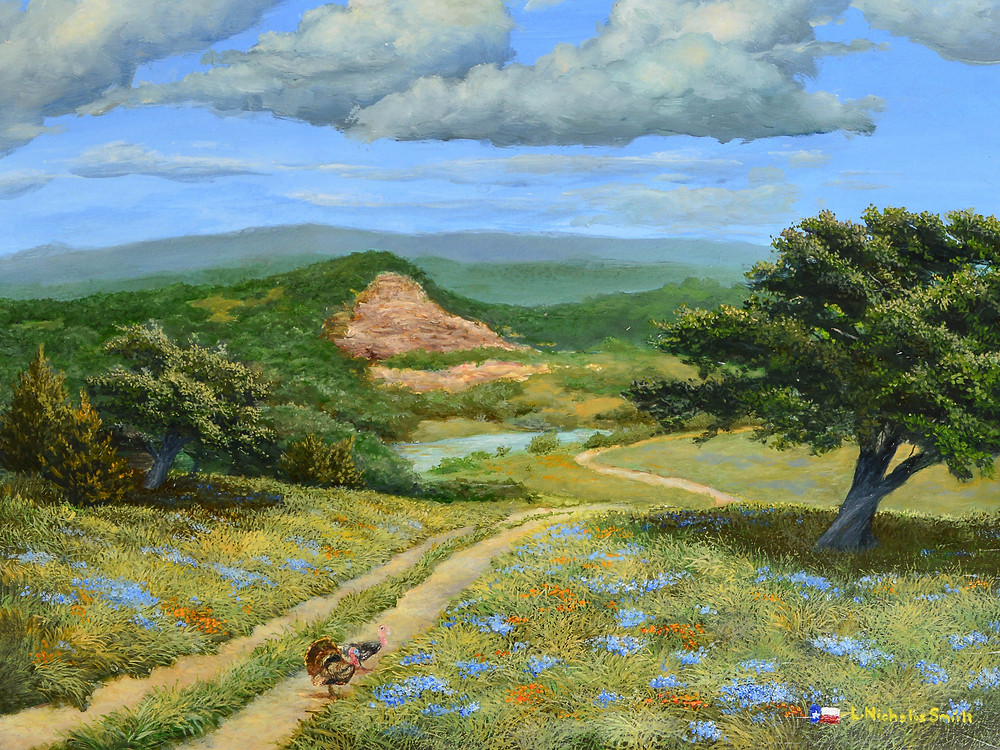 springtime realism landscape of texas hill country with worn pathway rolling hills turkeys flowers river and trees with blue skies and white clouds