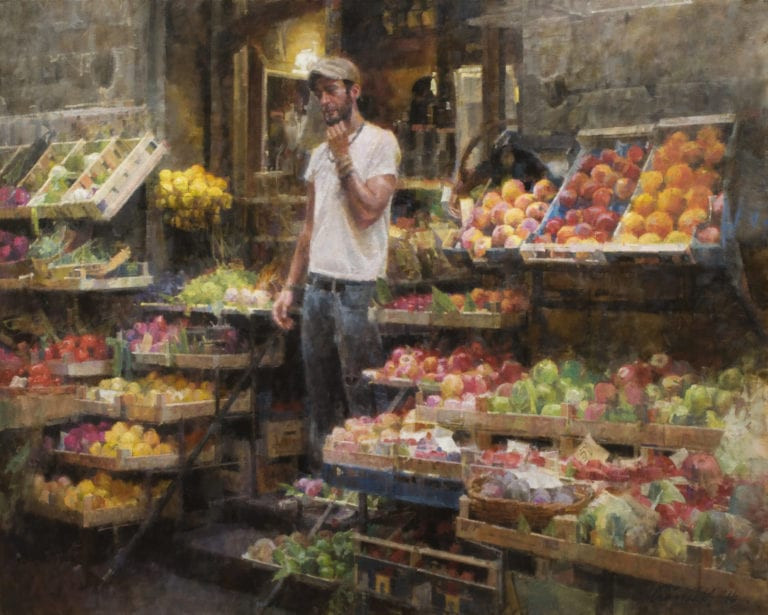 Fruit Vendor oil on canvas realism painting by James Crandall for Oil Painters of America Silver Oak Art
