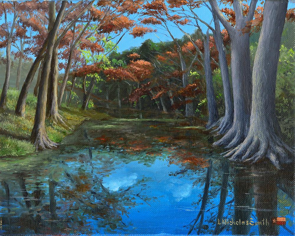 Autumn Reflection realism oil painting by L. Nicholas Smith at Silver Oak Art landscape painter texas