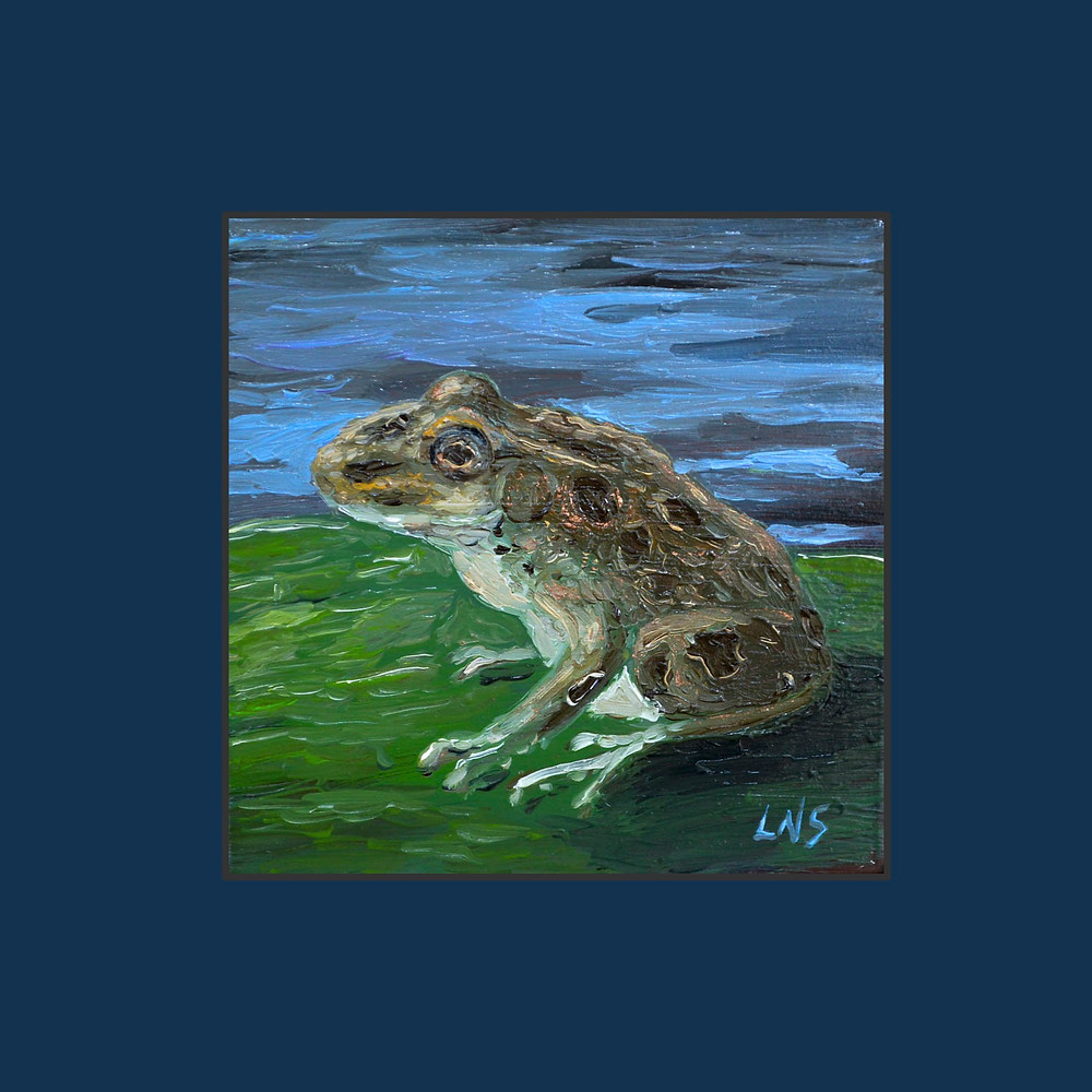 petite paintings collection realism frog oil tiny oil painting on a lily pad by L. Nicholas Smith at Silver Oak Art