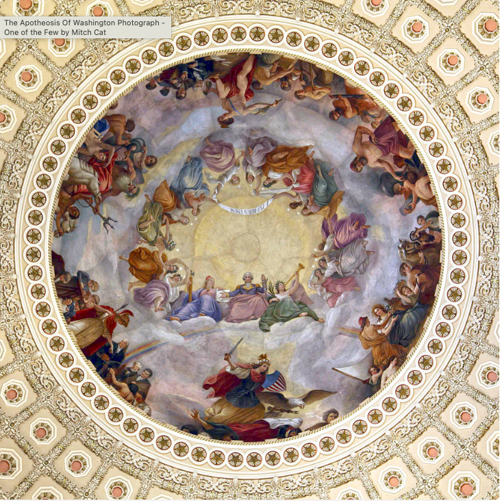 Photo of Apotheosis of Washington fresco in the Ceiling of the Rotunda of the United States of America Capitol Building Silver Oak Art