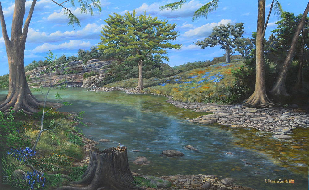Fine Art oil painting by artist L. Nicholas Smith at Silver Oak Art, Bulverde, Texas. This realism landscape oil on canvas painting features a shaded spring fed river flowing over limestone rocks and by weathered limestone cliffs west to east under tall cypress trees in the springtime and a clear partially cloudy day. Wildflowers include bluebonnets, coreopsis and firewheels. An armadillo and a warbler bird are highlighted.  Plenty of accurate botany is also mixed into this painting; river ferns, saplings, cedars and rice grasses.