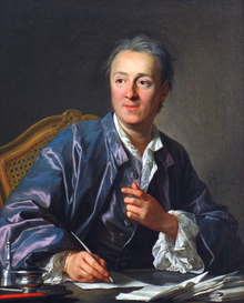 denis diderot oil painting portrait looking right writing with quill feather silver oak art