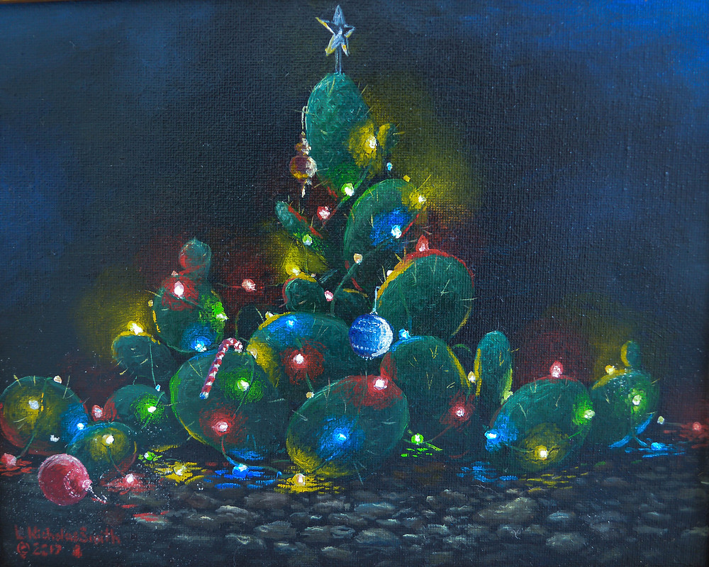 fine art contemporary realism oil painting by L. Nicholas Smith at Silver Oak Art in Bulverde Texas USA, American Artist, prickly pear Christmas tree with lights and star bulbs candy cane in night