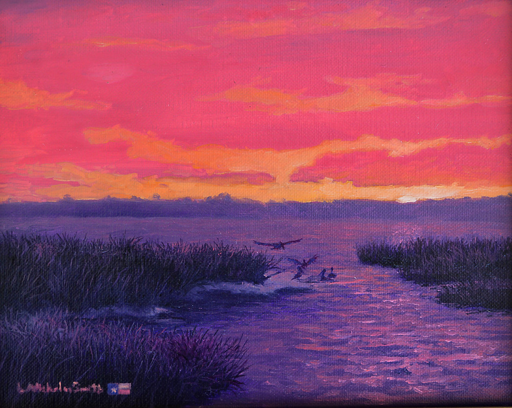 contemporary realism oil painting of coastal landscape featuring purple water, dark reeds, birds frolicking, orange sky and hot pink clouds by L. Nicholas Smith at Silver Oak Art, American artist, USA