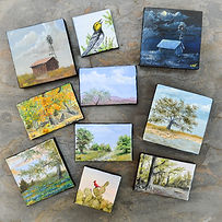 photo of small paintings landscapes birds