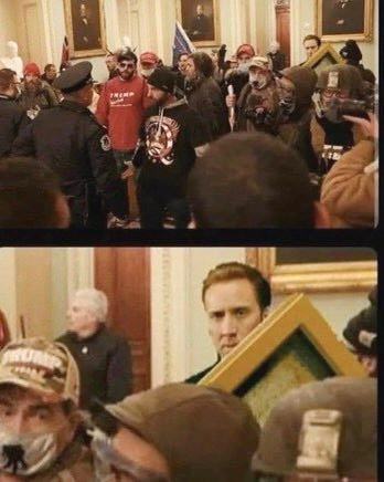 meme of capitol protests on January 6, 2021 with national treasure photo of Nicholas Cage sneaking a painting out during protests Random_WhiteGuy photo credit Silver Oak Art