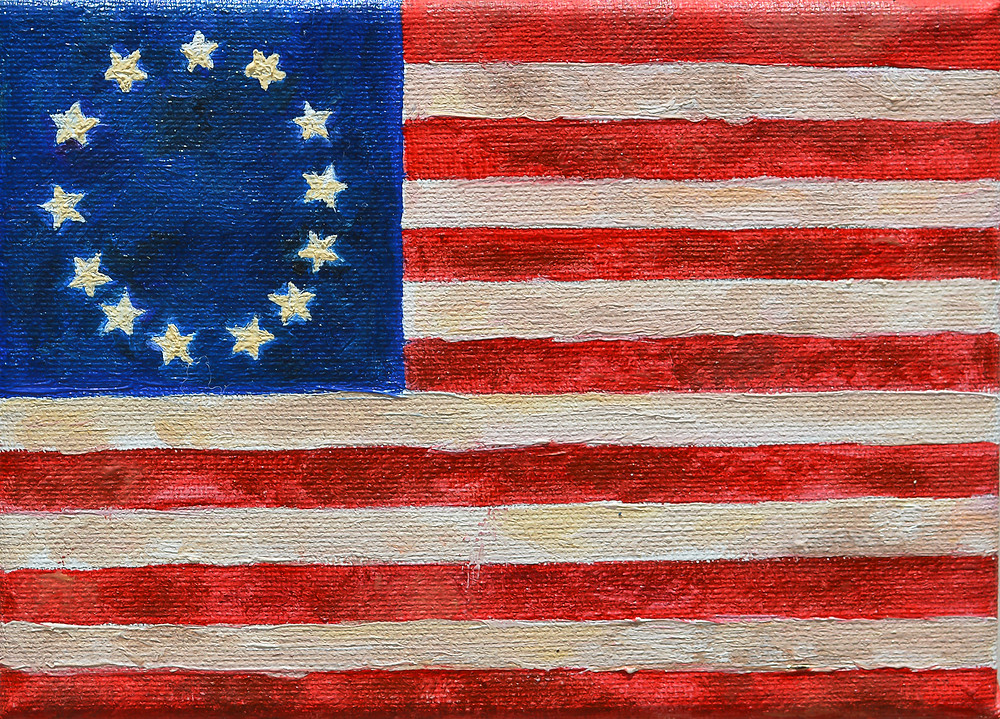 Betsy Ross Flag oil painting vintage military flag of America