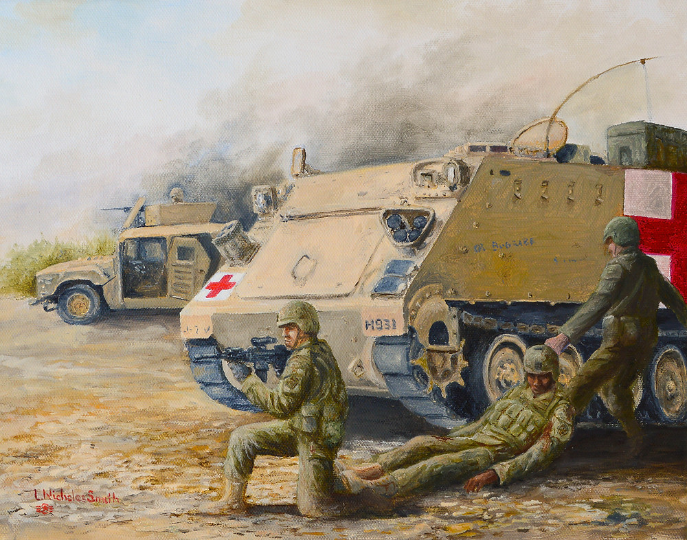 Oil painting of medical evacuation during combat