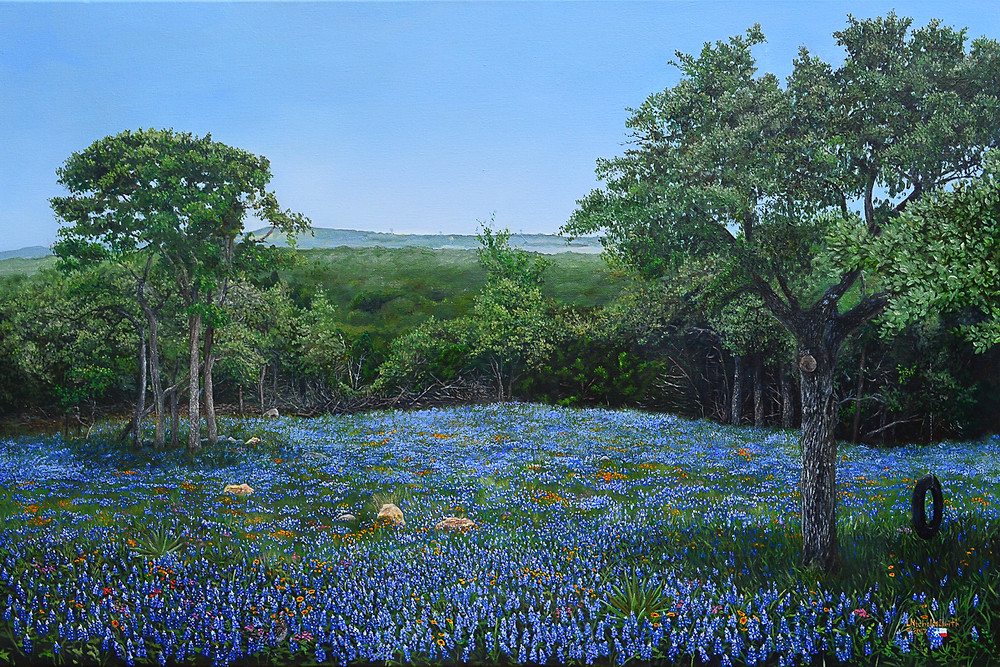 meadow of bluebonnet wildflowers with trees and tire swing. Texas oil painting landscape